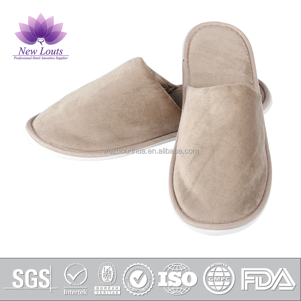 Brown grey cotton hotel disposable slippers for adult men and women
