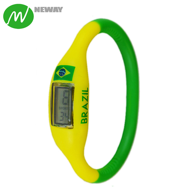 Cheap Promotional Brazil Flag Silicone Sports Wristwatch