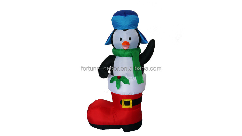 180cm/6ft high Christmas inflatable penguin with big red Christmas stocking