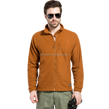 Wholesale Men's Camping Tactical Front-Zip Grid Fleece Jacket Outdoor Hiking Climbing Windproof Thermal Jacket
