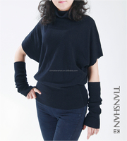 100% cashmere sweater women turtle neck pullover with sleevelet