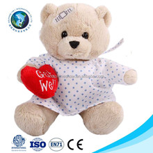 Get well soon hospital patient gift stuffed soft toy custom cute cartoon nurse teddy bear plush toy with red heart