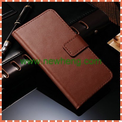 Newest Elegant Plain Grain Flip PU Leather Case for iphone6