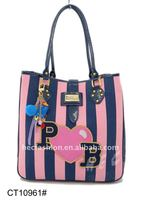 Sweet Stripe Handbag With Heart