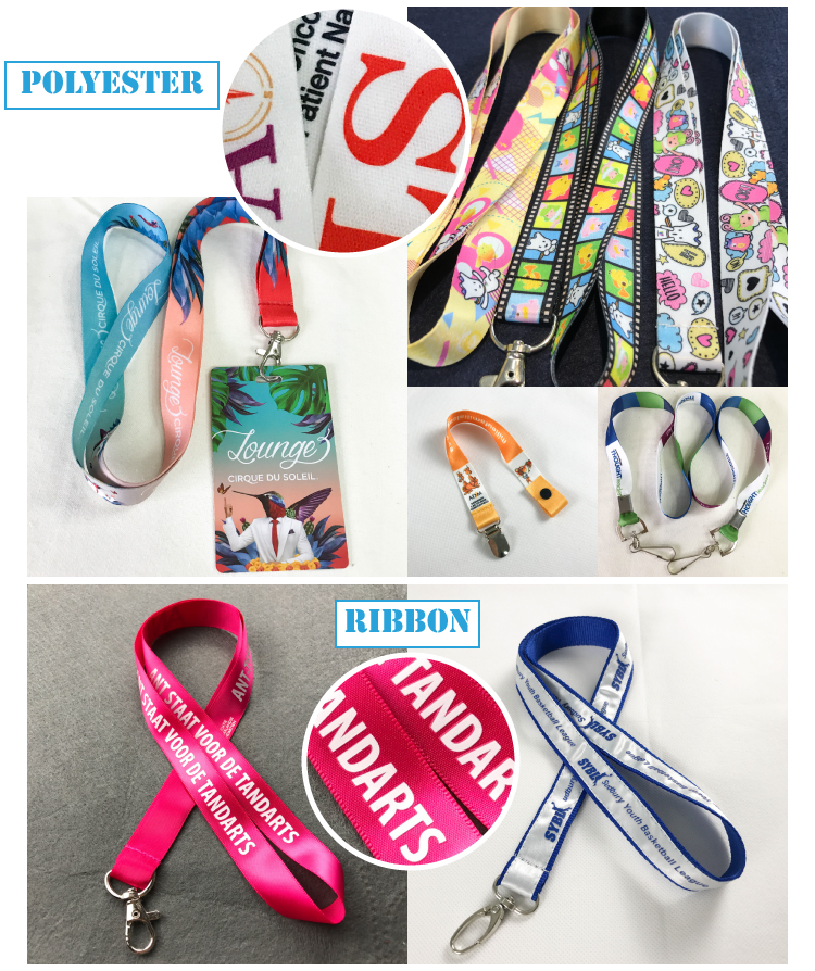 custom fashion printed stain lanyards with logo attached accessories