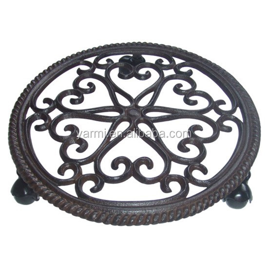 METAL PLANT STAND MOVER FOR GARDEN DECORATION
