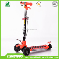 Powerful adult kick scooter/3 wheel folding manual pedal push 120/80mm kids kick scooter.