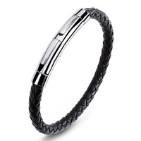Fashion High Quality Stainless Steel Adjustable Length Buckle Leather Bracelet Jewelry Men's