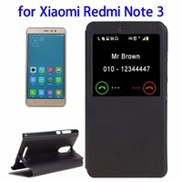 Wholesale Horizontal Flip with Call Display ID Leather Case for Xiaomi Redmi Note 3