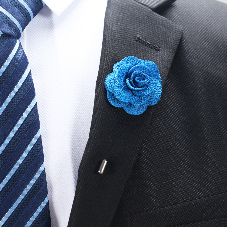 Decorative fabric flower pin brooch for men's suit