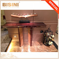 Modern Italian Stylish T-Shape Wood and Brass Combined Console Table, Gilded and Veneer Design Table