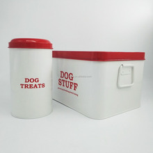 Retro Vintage Coating Metal Pet Treat Cat Dog Bird Food Tin Box Dry Food Storage Bin Container
