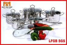 MSF 12pcs stainless steel induction base cookware with glass lid