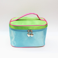 new arrival Mercerizing leather blue travel cosmetic bag cosmetic case high quality