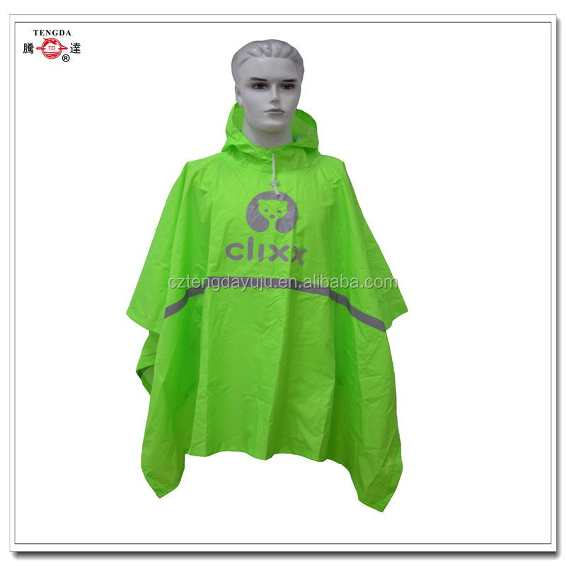 reflective fluorescent green nylon rain poncho for younger
