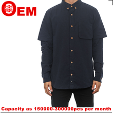 casual navy blue street wear two layer sleeve mens shirt