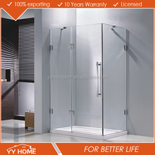 YY Home modern design frameless glass stainless steel 3 panel sliding shower door