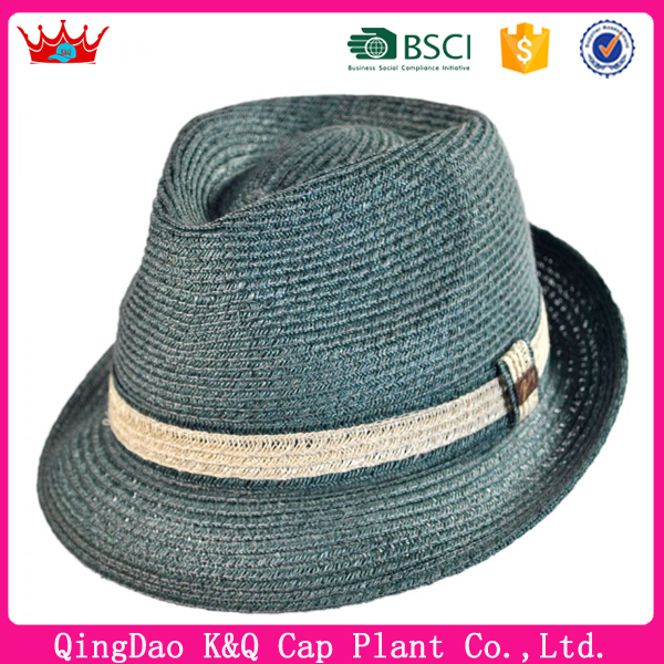 High Quality Fashionable Blue Abaca Straw Hats With Band