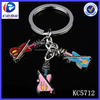 Hot selling promotion gift metal music gifts wholesale guitar keychain