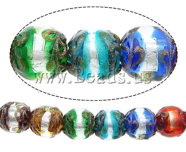 Free shipping!!!Gold Sand & Silver Foil Lampwork Beads,Colorful Jewelry, Round, gold sand and silver foil, multi-colored, 15mm