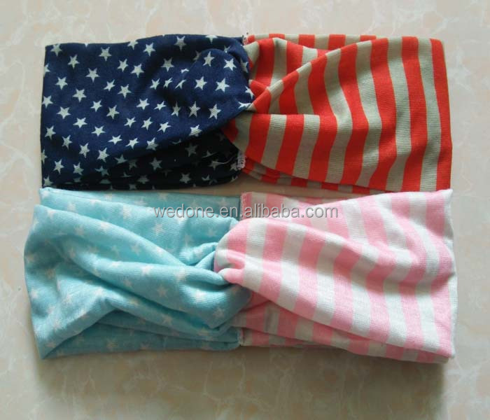 4th of July Outfit Blue and Red Knot Headband