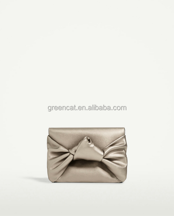 Guangzhou handbag factory wholesale cheap metallic silver PU leather cluth bag purse with bowknot detail fashion ladies handbags
