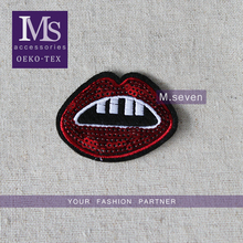 Sexy mouth in red color sequin patch for T-shirt