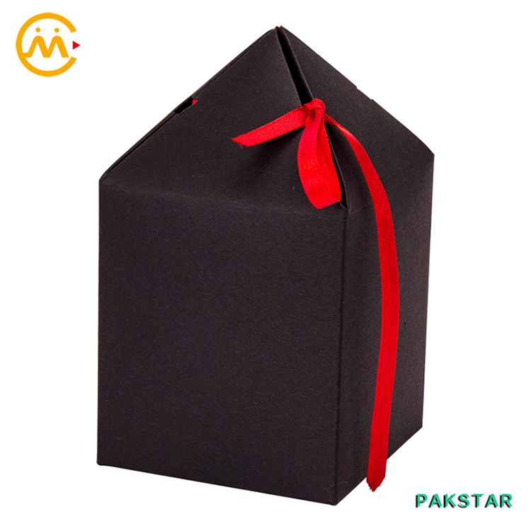 Solid black cross top treat tent craft flower gift box with red ribbon clousure on top