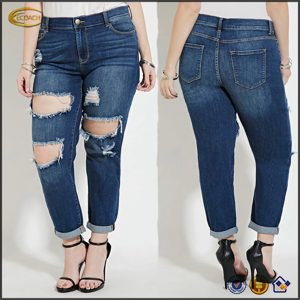 Ecoach Wholesale OEM 2016 plus size distressed front and five pocket construction with zip fly new pattern jeans for fat women