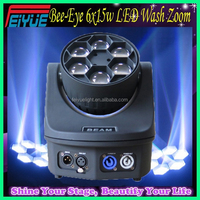 100% Facotry Direct Sale 4in1 RGBW Bee Eye DMX Mini Beam Zoom 6x15w LED Moving Head Wash