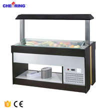 Restaurant equipment marble istand type cake pasta cooling refrigerator salad bar display