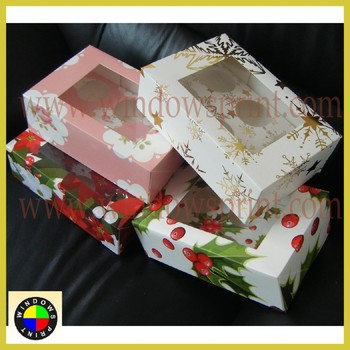 China decorative custom design christmas cupcake boxes