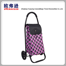 Custom folding polyester bag shopping trolley bag with wheel
