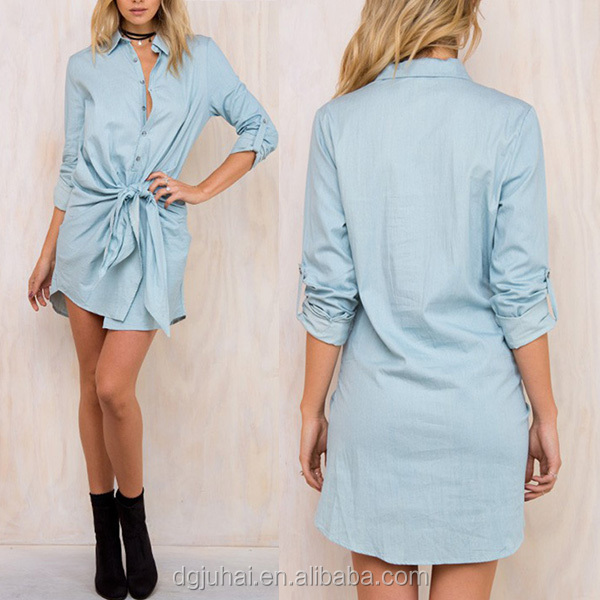 Women denim look long sleeve chambray summer shirt dresses
