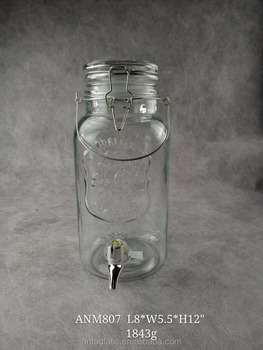 Drink Glass Beverage dispenser with glass lid and handle
