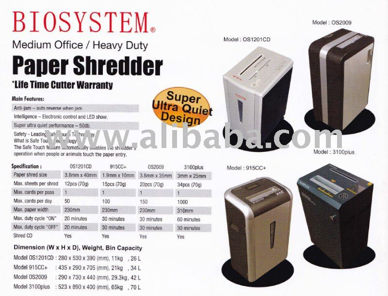 BIOSYSTEM Office Use/Medium Office/ Heavy Duty Paper Shredder