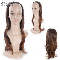 T color machine made half wig long synthetic half wig with head band