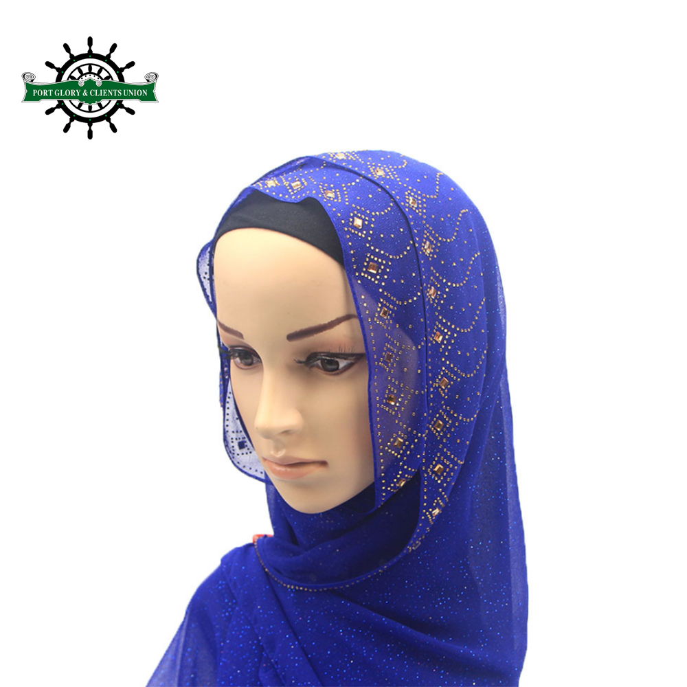 Wholesale New Style Custom Made Promotion Long Beaded Chiffon Hijab <strong>Scarf</strong>