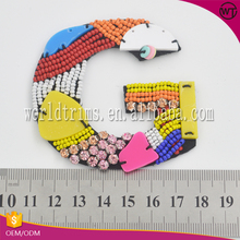 Fashion sequin patch embroidered letters beaded stone applique