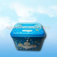 Custom Piggy Bank Tin Box With Handle