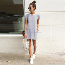 New Womens Summer T-Shirt Dress Apparel Ladies Striped Mini Party Sun Dress Beach Dress
