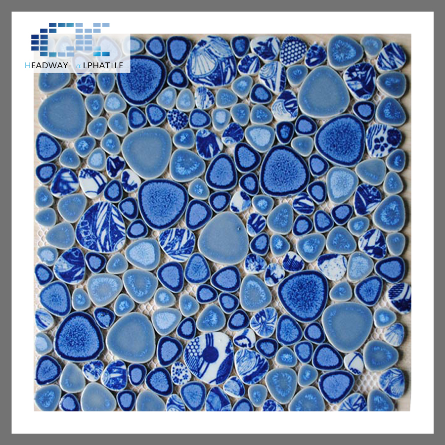 Bathroom pebble glazed ceramic mosaic blue swimming pool spa tile