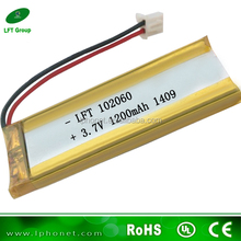 10mm thickness 102060 high quality li ion battery 3.7v 4.2v 1200mah