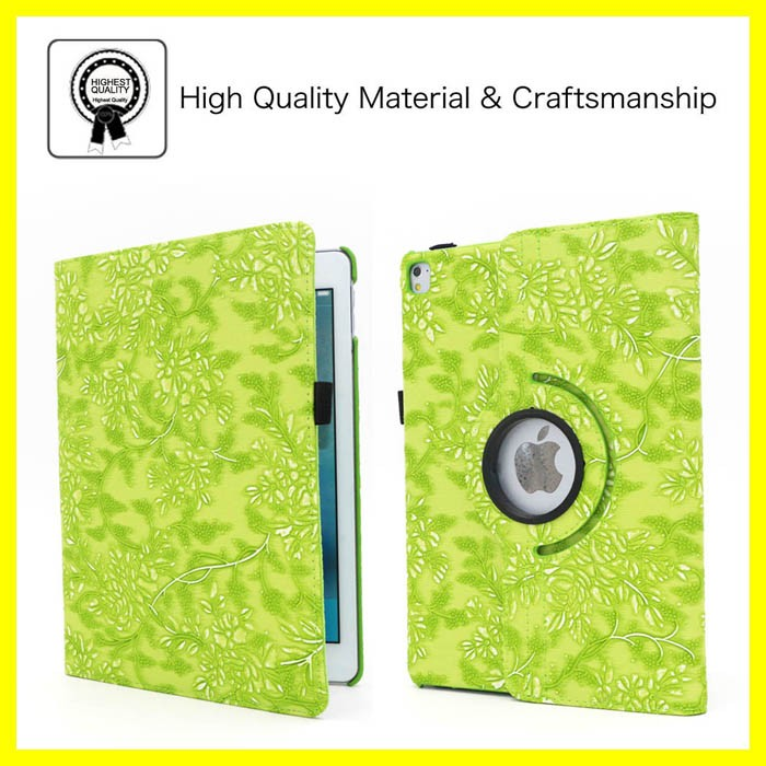 Flower Rotating Case for iPad Pro 9.7 inch Tablet Smart Cover with Auto Sleep Function