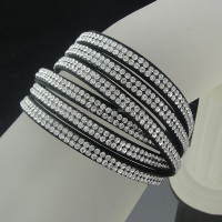 Fashion black velvet slake bracelet with bling rhinestone wrap bracelet jewelry BCR-010-6