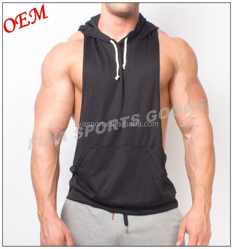 2018 OEM factory hot sell 100% polyester front drawstring blank plain men sport sleeveless hoodies