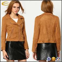 Ecoach latest design fashion Brown Long Sleeve Lapel Zipper high quality outdoor jacket bulk wholesale lady jacket