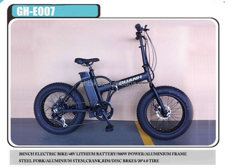 20 inch 500w 48V folding fat tire tyre electric bikes lithium battery bike CE certification