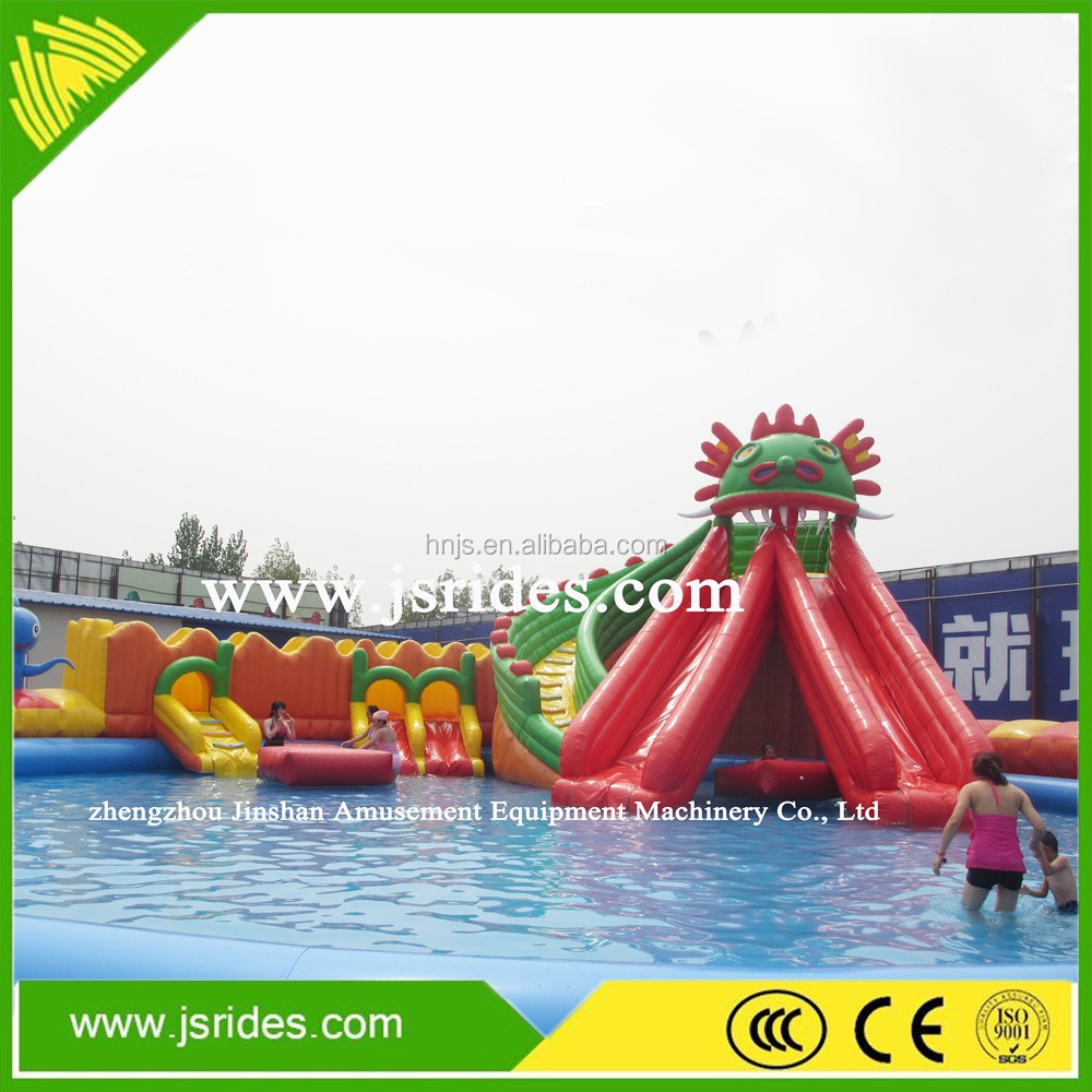 Funny blue waves giant inflatable water slide, water slide for kids and adults