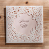 White Square Hollow Flora Vintage Laser Cut Wedding Invitation Engagement Invitation Anniversary Invitation CW5197
